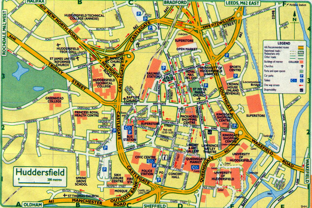 Detailed map of Huddersfield town centre key